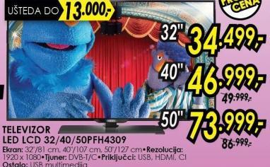 "Televizor LED 50"" 50pfh4309"