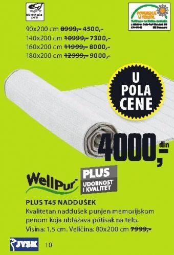 Naddušek Plus T45 180x200