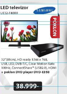 Televizor LED Samsung UE32-F4000+Poklon DVD plejer E350