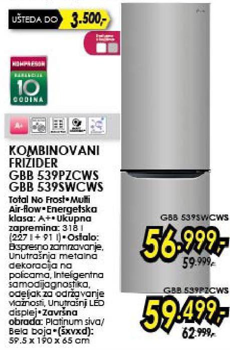 Frižider Kombinovani GBB539WCWS