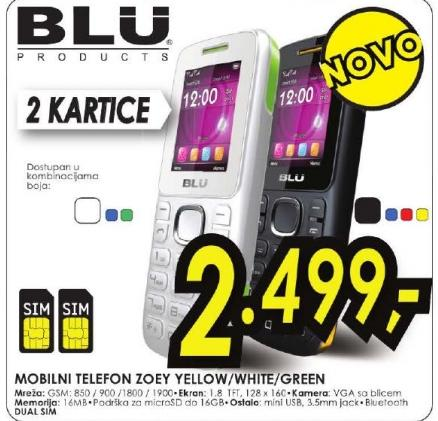 Mobilni Telefon ZOEY Yellow/White/Green