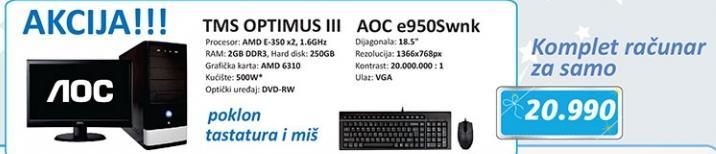Desktop računar TMS OPTIMUS III i monitor AOC e950S wnk