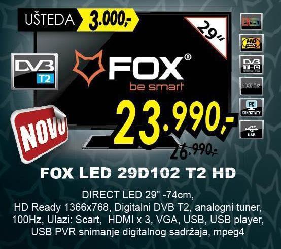 """Televizor LED 29"""" 29D102 T2 HD"""