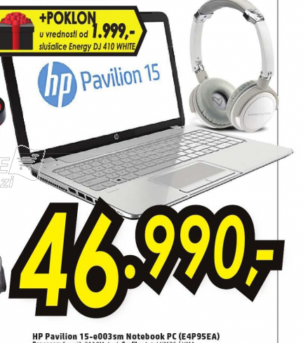 Laptop HP Pavilion 15-E003SM E4P95EA+Poklon slušalice Energy DJ 410 White