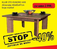 Klub sto Kvadro 600
