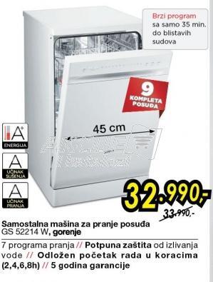 Samostalan mašina za pranje posuđa GS52214W