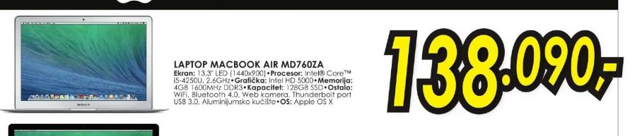 Laptop MacBook Air MD760CR/A