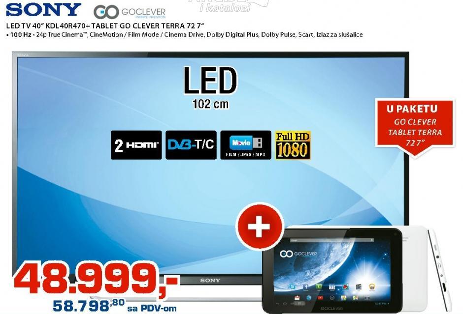"Televizor LED 40"" KDL-40R470 Poklon Tablet GoClever Terra 72"