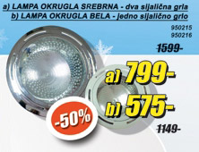lampa okrugla srebrna