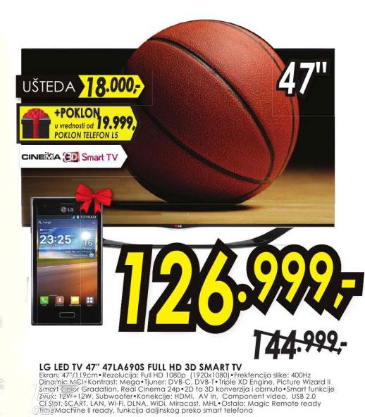 3D LED Televizor 47LA660S + poklon LG Mobilni telefon