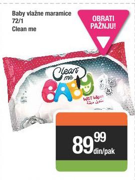 Baby vlažne maramice Clean me