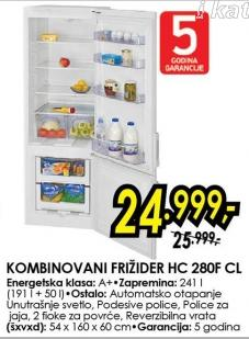 Kombinovani frižider Hc 280f Cl