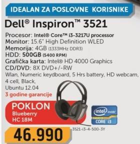 Laptop Inspiron 3521-i3-4-500-3Y + poklon Slušalice Blueberry Hc-18m
