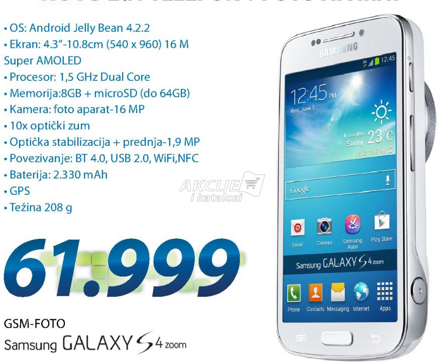 Mobilni telefon GALAXY S4 ZOOM WHITE SMC1010ZWASEE