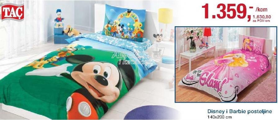 Posteljina Disney i Barbie 140x200cm Tac