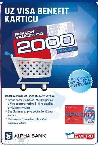 Poklon vaučer 2000 dinara uz Visa Benefit karticu