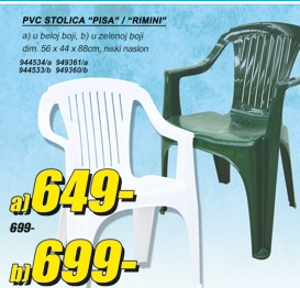 PVC STOLICA PISA BELA