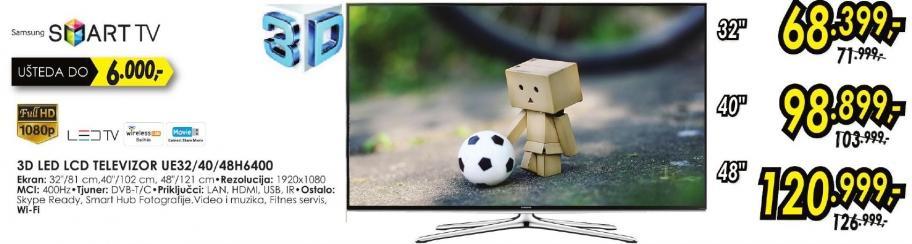 """Televizor LED 40"""" 3D Ue40h6400"""