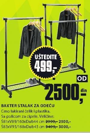 Stalak za odeću Baxter 83x93/168x43