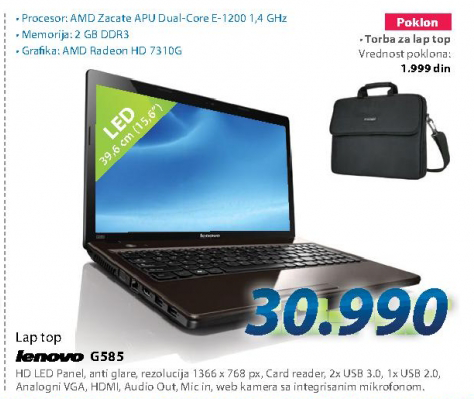Laptop računar IDEAPAD G585