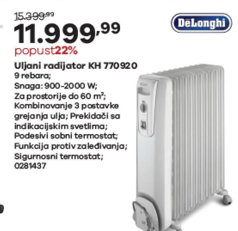 Električni uljni radijator Kh 770920
