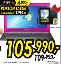Laptop Asus Zenbook UX31E RY029V ROZE + poklon tablet ME1720V 1G057A