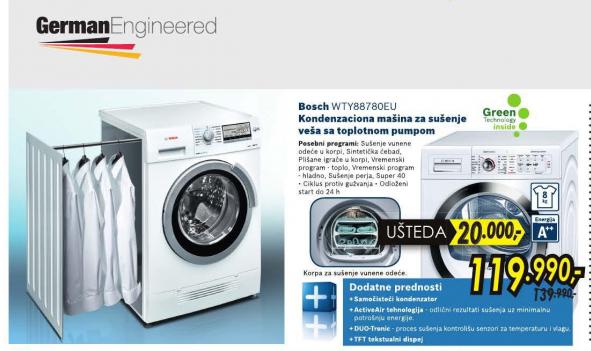 Mašina za sušenje veša WTY88780EU