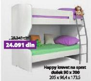 Krevet HAPPY beli na sprat