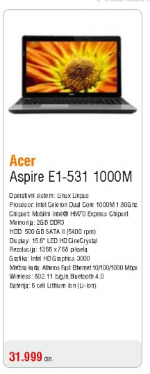 Laptop Aspire E1-531 1000M