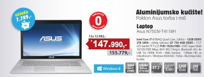 Laptop N750JV-T4118H
