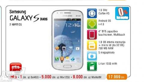 Mobilni telefon Galaxy S Duos S7562