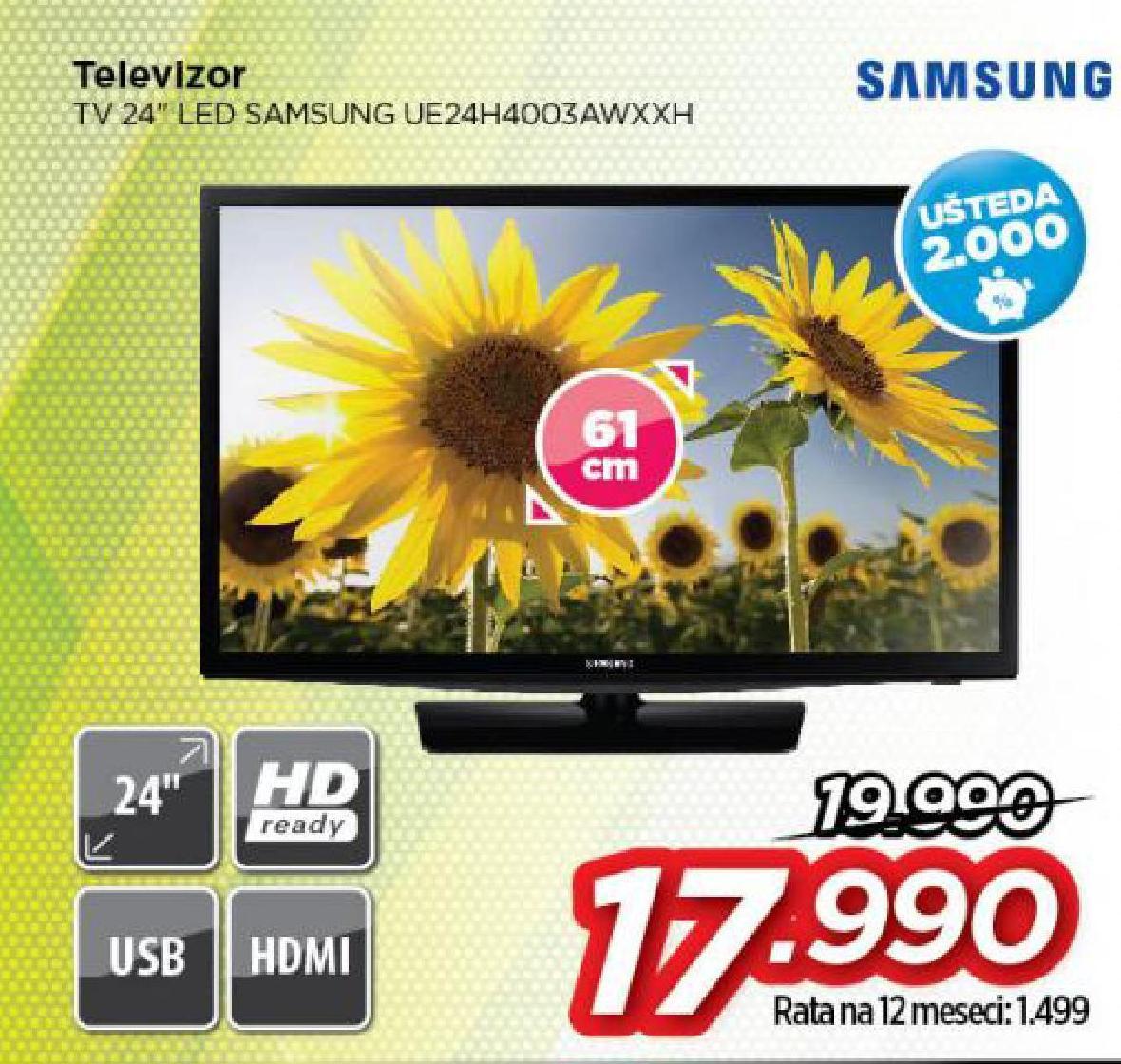 """Televizor LED 24"""" UE24H4003AWXXH"""