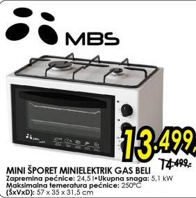 Mini šporet Minielektrik Gas Beli Mbs