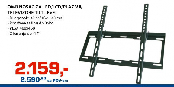 OMB nosač za LED/LCD/PLAZMA televizore tilt level