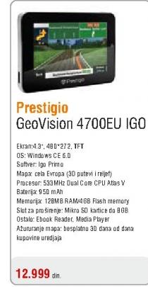 Gps navigacija GeoVision 4700EU IGO