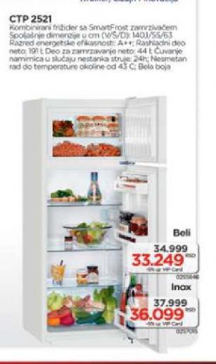 Kombinovani frižider CTP 2521