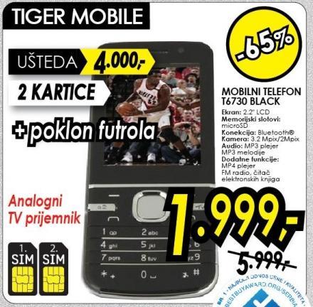 Mobilni telefon T6730 Black Tiger Mobile