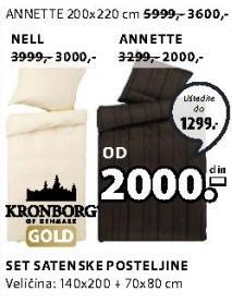Satenska posteljina Annette 140x200cm