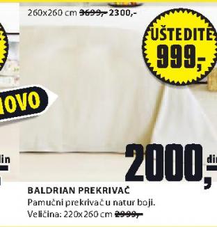 Baldirian prekrivač , 260x260cm