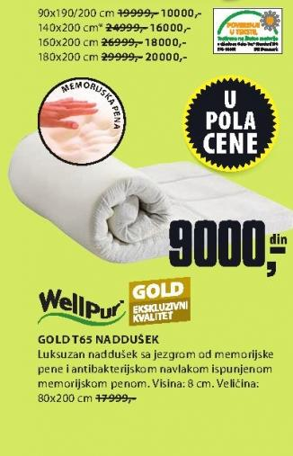 Naddušek Gold t65 160x200
