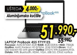 Laptop ProBook 455 F7y91es