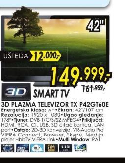 Televizor plazma TX-P42GT60E