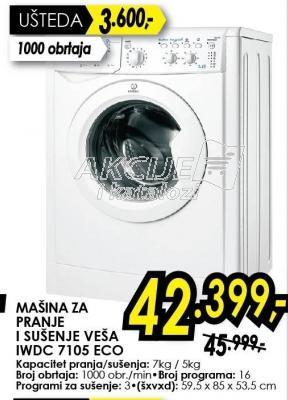 Mašina za pranji i sušenje veša IWDC 7105 Eco