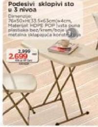 Podesiv sklopiv sto