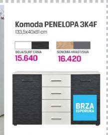 Komoda  Penelopa 3K4F bela/crna surf