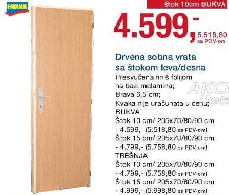 Drvena vrata sa štokom 15cm leva/desna Bukva