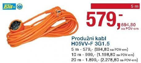 Produžni kabl H05vv-F 3g1.5 10 m