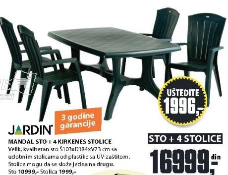 Baštenski sto Mandal sa 4 Kirkenes stolice Jardin