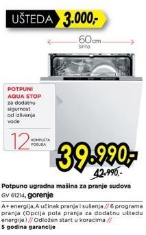 Potpuno ugradna mašina za pranje sudova Gv 61214