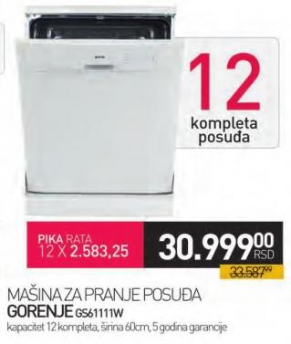 Mašina za pranje posuđa Gs61111w